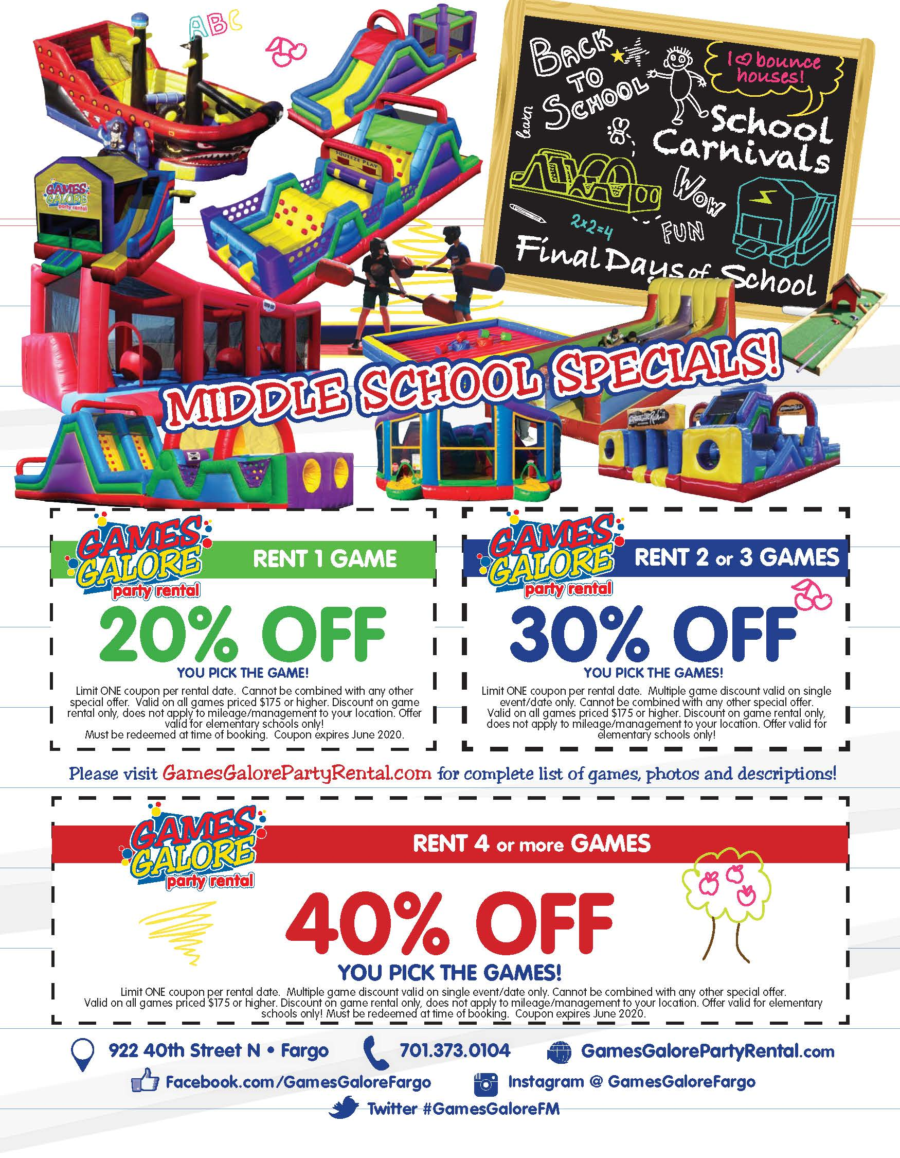 Middle School Packages Flier Discount Sheet