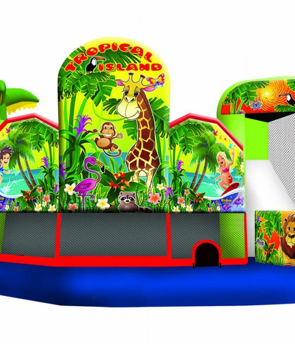 Tropical Island Bounce House Perspective View