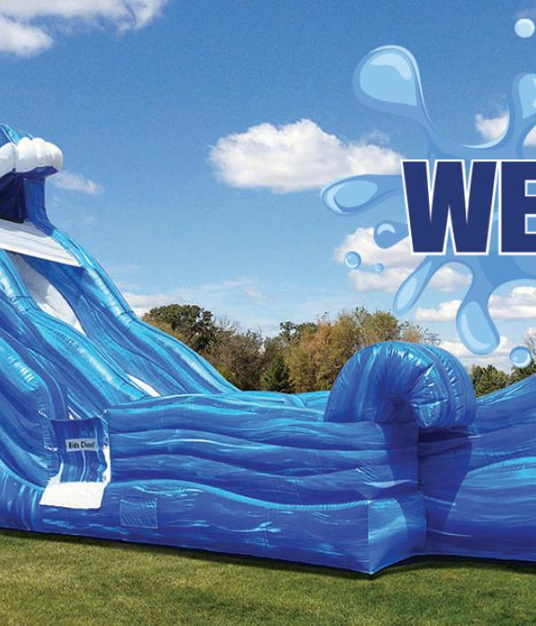Blue Super Splash Dual Water Slide, Dry Slide, Wave, Water Slide Logo