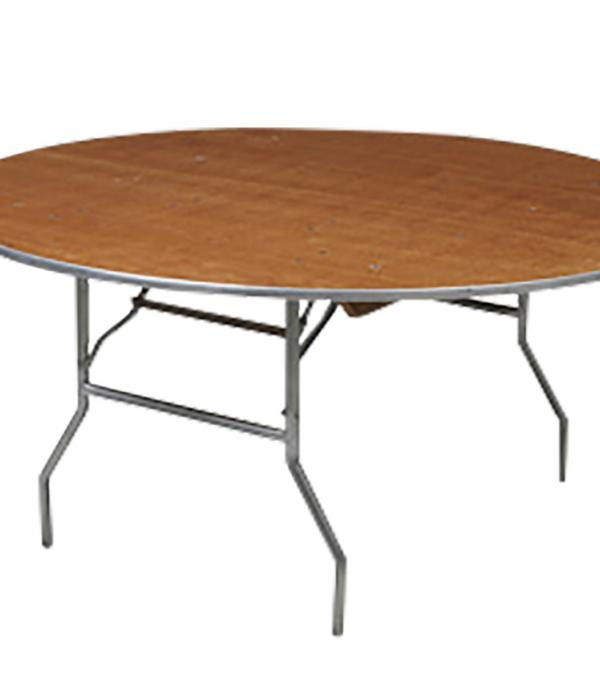 Five Foot Round Table for gatherings in wood and folds